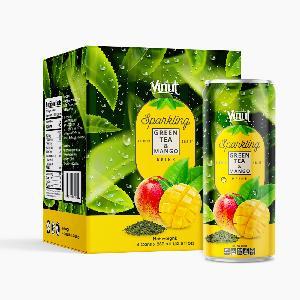 Box 4 Cans VINUT Premium Back tea & Mango Sparkling water