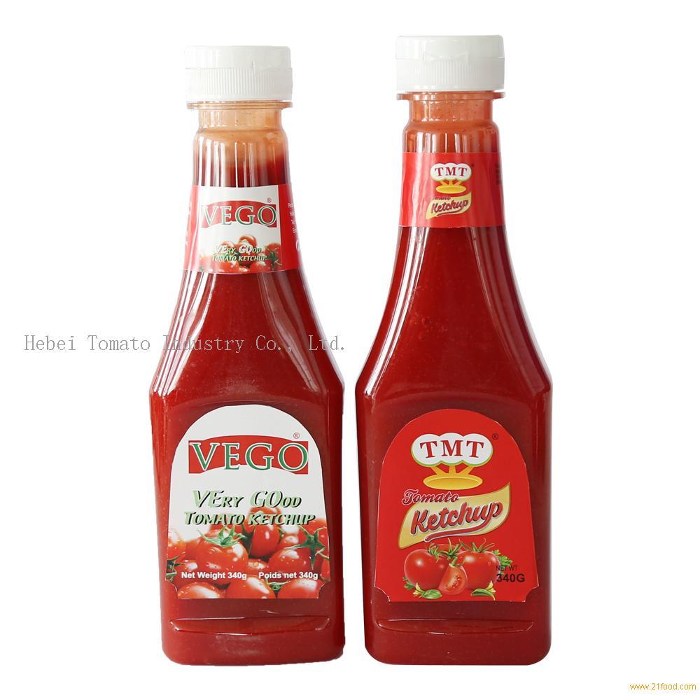 good flavor 340g tomato ketchup in plastic bottle for africa market