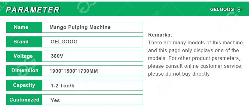 mango pulp machine parameter