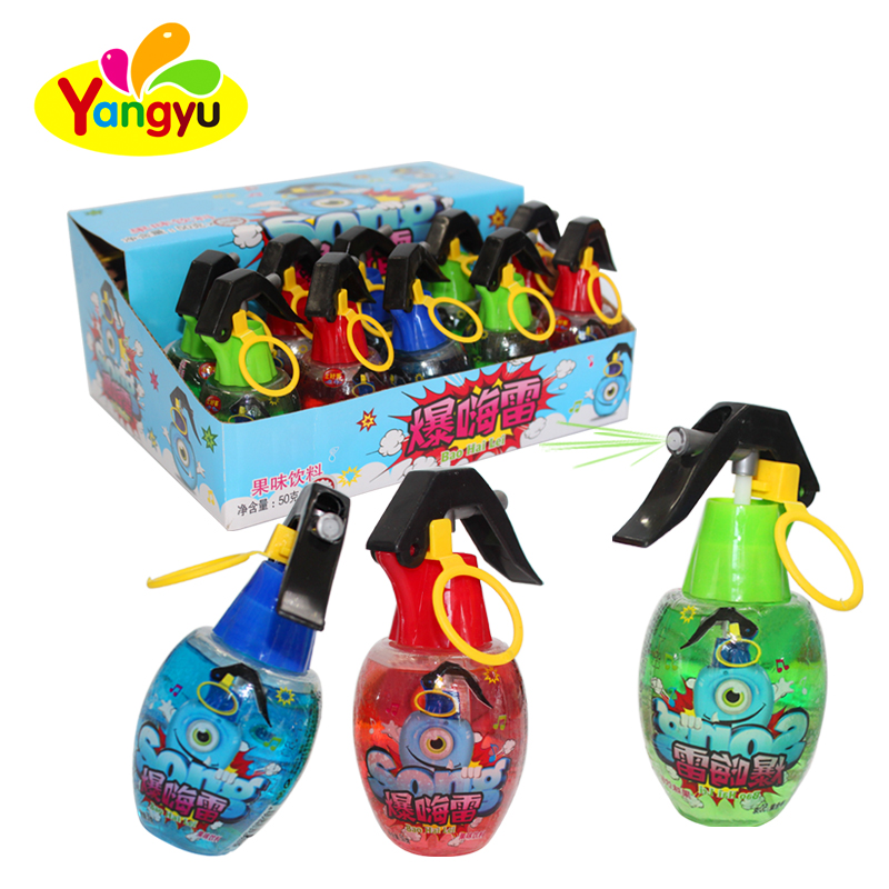 candy small bomb shape fruity flavors liquid spray candy