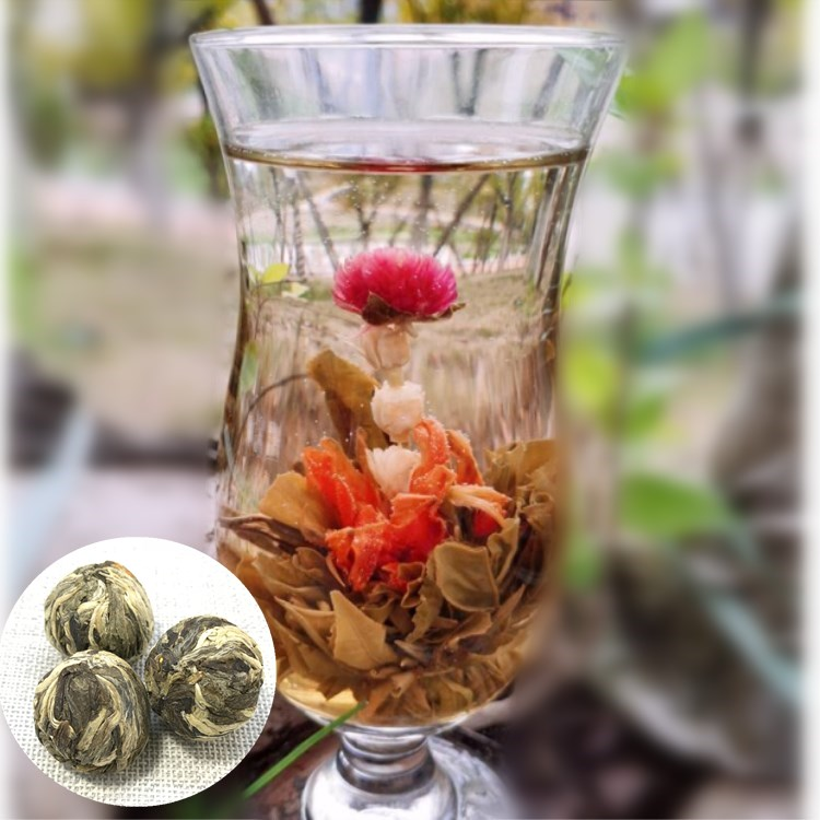 BFT 04 handmade craft flowers golden dragons pearls tea floral green tea blooms