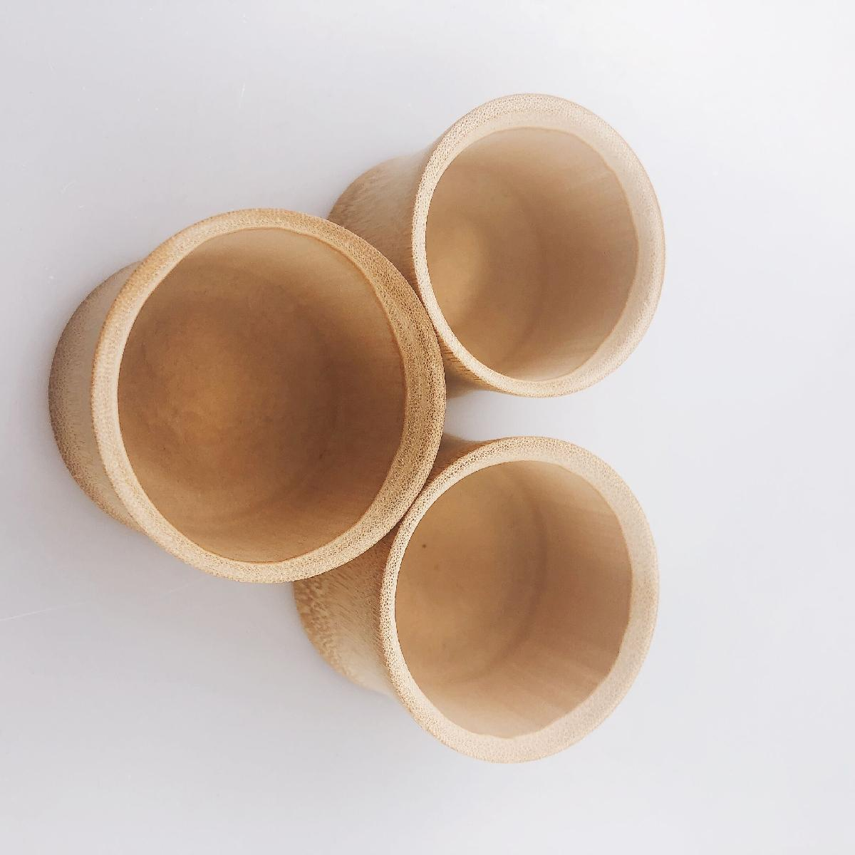 Small Natural Color Bamboo Beer Cups WIth Hot Drink And Cold Drink Free Logo Customization