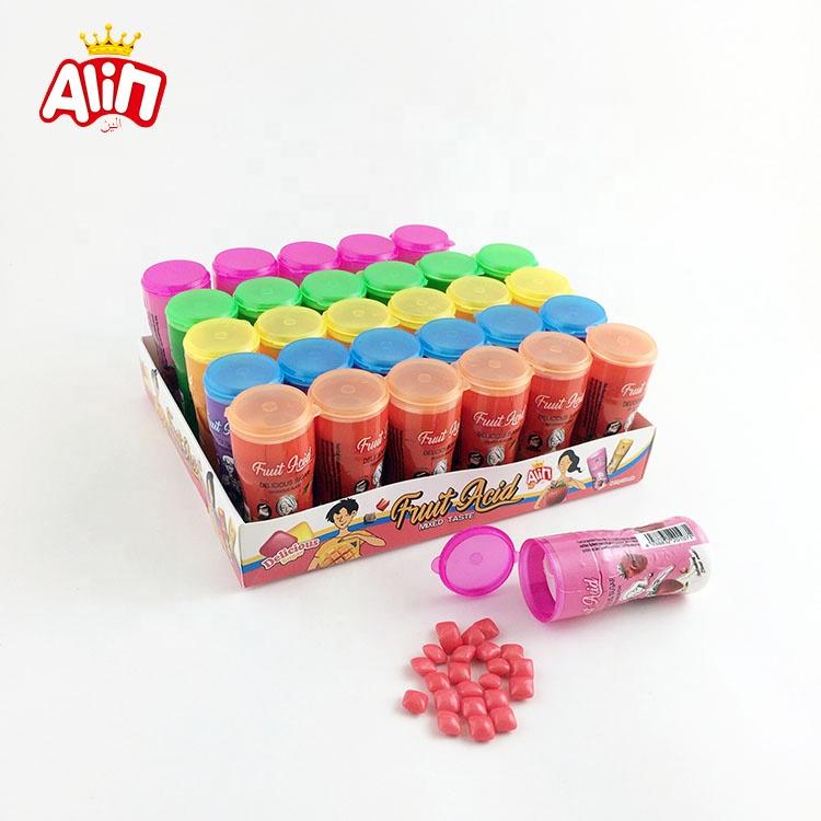 Small bottle cartoon five-color fruit mixed taste delicious sugar mini cube fruit acid bubble gum