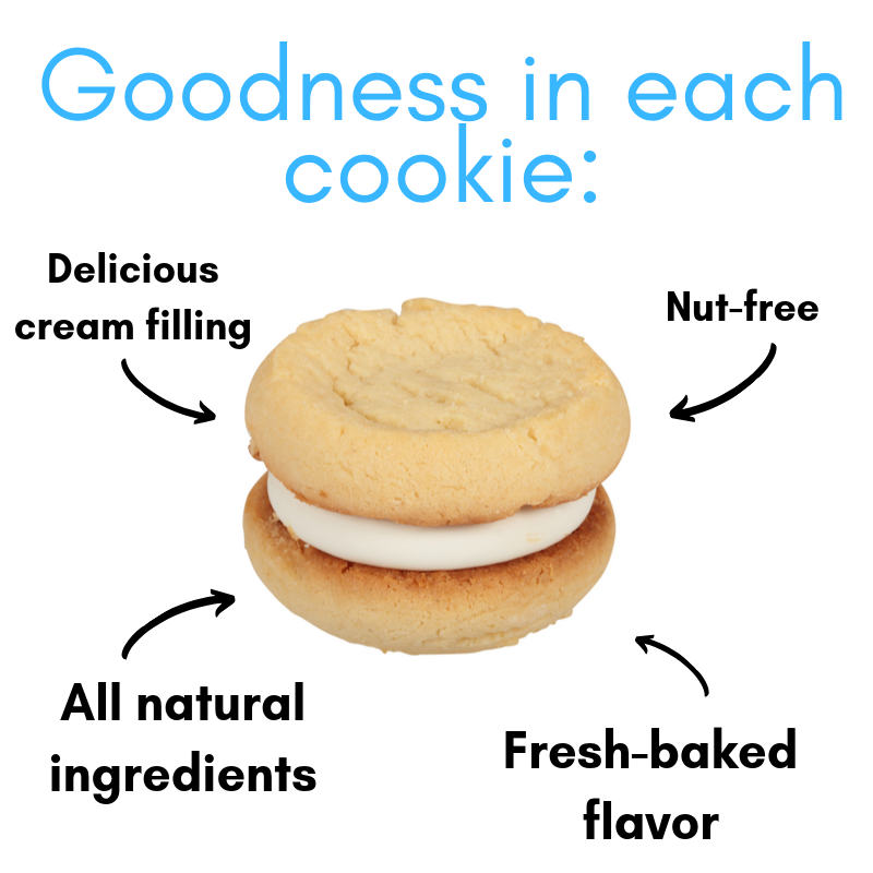 Our Specialty Sweet Middles, Peanut and Tree Nut Free, Mini Cream Filled Sandwich Cookies, Creme Brulee