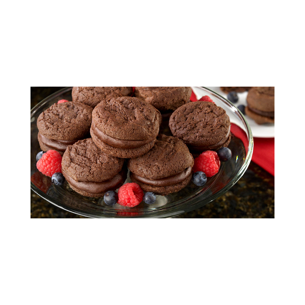 Our Specialty Sweet Middles, Peanut and Tree Nut Free, Mini Cream Filled Sandwich Cookies, Chocolate Souffle
