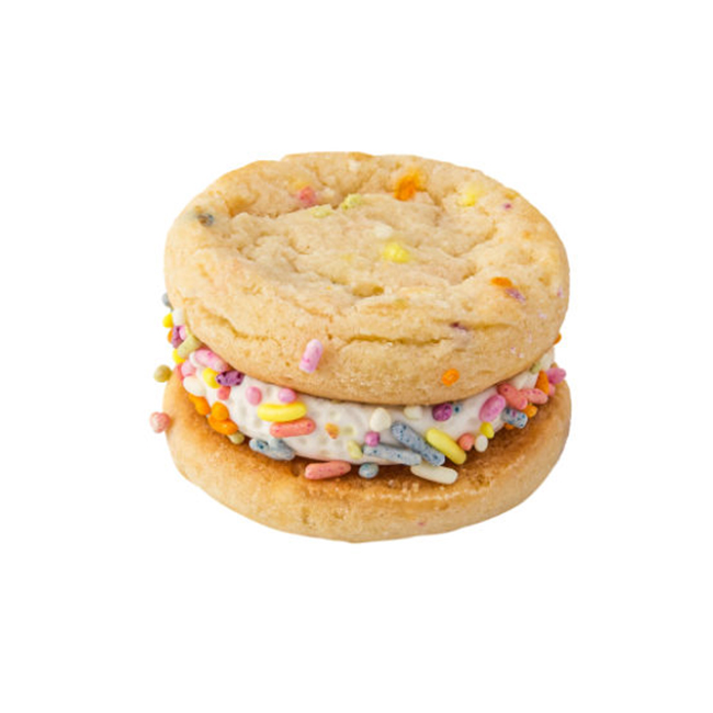 Our Specialty Sugar Sprinkle Sandwich Cookies With Vanilla Icing