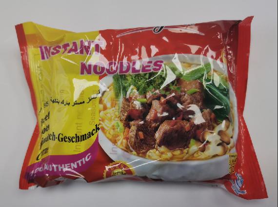 85g bag beef flavour instant noodle