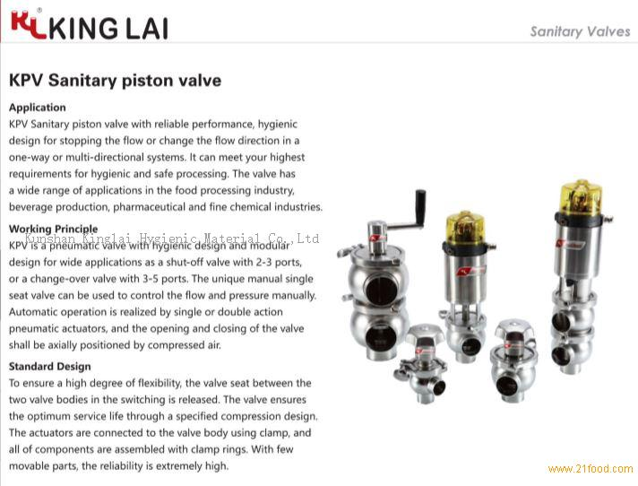 Sanitary piston valve