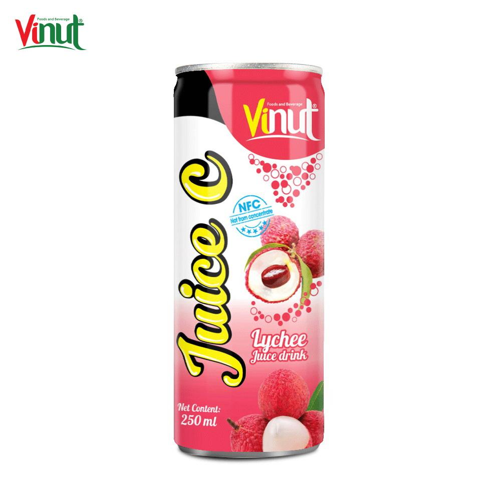 250ml VINUT Best Seller OEM Suppliers Canned Lychee Juice drinktea & Peach Sparkling water