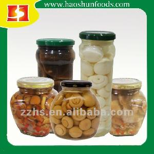 Canned Mushrooms in Glass Jar