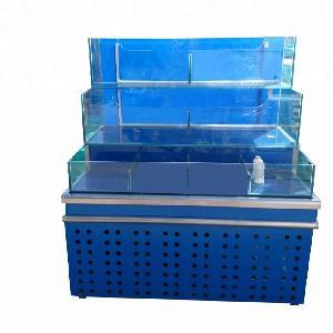 Dingfeng customized commercial supermarket chiller live  fresh   water  king  prawn  black tiger  prawn  shrimp aquarium