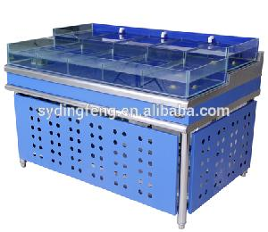 Customized supermarket or restaurant commercial salted system water chiller live sea cucumber seafood tank