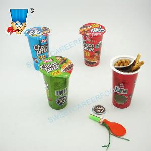 Chocolate Prize Biscuit Stick Surprise Choco Cup With Assorted Toys Confectionery