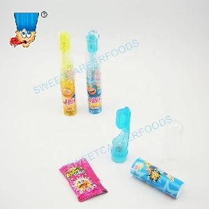 Funny Colorful Lighting Fruit Flavors Toothbrush Hard Sweets With Popping Candy Toy