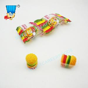 fruit flavor hamburger  gummy soft candy sweets