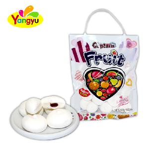 Gifts Bag Packing Strawberry Jelly Filled White Round Marshmallow