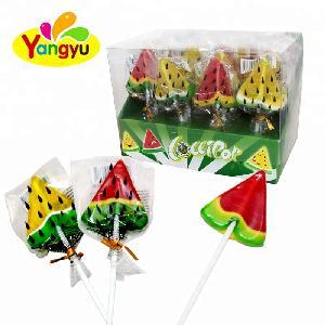 Hot Selling Fruity Shaped  Sweet   Watermelon  Hard Lollipop Candy