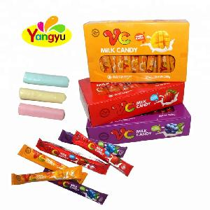 Halal Multiple Fruity Flavors VC Milk Soft Chewy Candy Stick