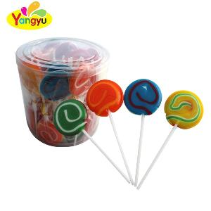 Jar Packing Colorful Rainbow Swirl Round Lollipop Candy