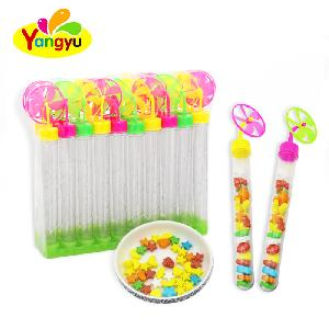Joyful Plastic Windmill Toy Candy with Long Stick fruit sweets