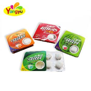 Blister shape packing sweet fruit jam center filling round chewing bubble gum