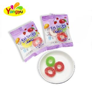 Donuts Shape Sugar Coated Fruits Gummy  Candy