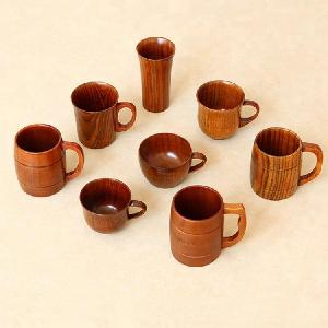 Customized Handmade Wooden Beer Mugs Tea and coffee Drinking Cups