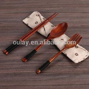Wooden  cutlery set  wooden  spoon and chopstick set with bag  wooden  tableware