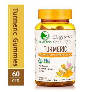 Organic Hemp oil infused Turmeric Curcumin Ginger BioPerine Chewable Gummies