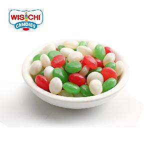 Free sample 1KG bulk packing halal jelly bean red  green  white fruity mix colors button shape jelly bean
