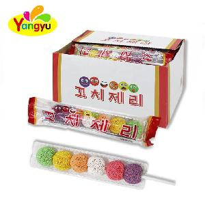 Korean Market Stick Type Mini Sour Candy Ball Coated Colorful Sour Gummy Candy