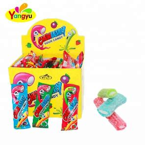 Rainbow Sour Powder Straw Center Filled Jelly Gummy Candy Sweet Starch Soft Drops Candy
