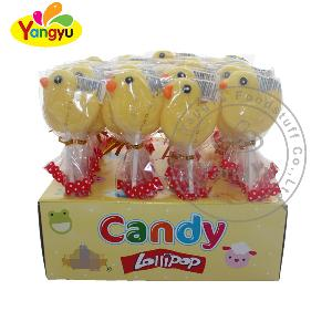 Halal sweet fruit  lollipop  with  yellow duck  shape  flavor lollipop  candy