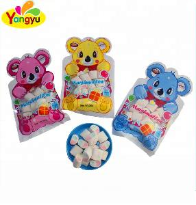 high Quality 30g Bear Shape Packing Marshmallow / Halal Cotton Candy