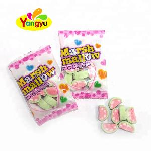Hot Sales Fruit flavours watermelon slice shaped marshmallow sweet heart candy