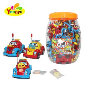 Fancy small plastic pull back car toy with round candy in Jar packing sweet tablet candy