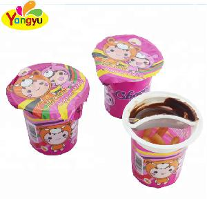 14g Strawberry Chocolate Jam choco cup with biscuit stick
