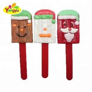 Christmas Good taste ice cream shaped jelly pop fruit Milk candy lollipop