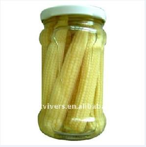canned sweet babycorn in glass jar