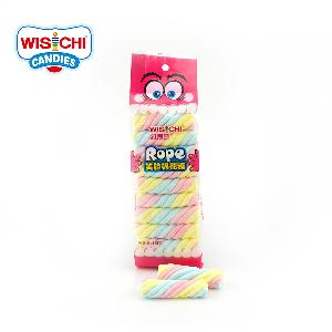 Free sample christmas twisted marshmallow jam filling wholesale colorful fruity halal marshmallow twisted jamed filling
