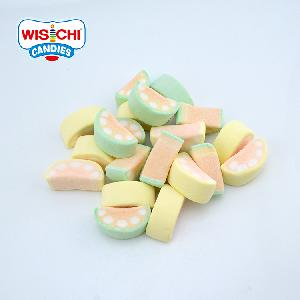 Free sample halal pop marshmallow watermelon shape green yellow color fruity marshmallow for wholesale