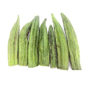 Low fat elongated lantern healthy  snack s VF veggie  chips  vacuum  fried   okra   chips