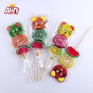 Cat shape with mini fruity sugar and roll watermelon shape lollipop gummy soft candy