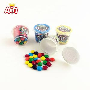 HALAL Small  round  bottle packing with mini colorful  chocolate  beans  candy