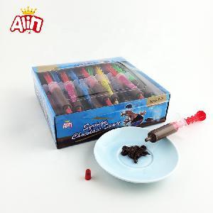 Lovely small  animal  color syringe shape sweet liquid milk chocolate