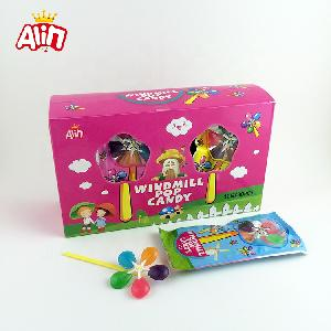 Rainbow fruit-flavored hard  candy  five-color windmill  toy   sweet  lollipop