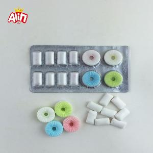 Refreshing type fruit-flavored two colors tablet whistle  candy  and  xylitol   mint  chewing gum