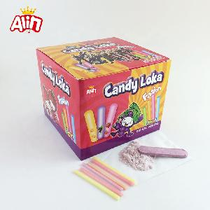 Cartoon Loka sour and sweet fruit CC stick sugar powder with hard candy