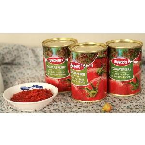 140g tin size canned tomato paste double concentrated brix 28-30 natural red color