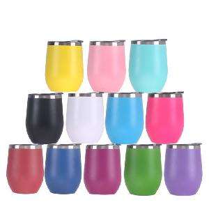 Wholesale Double Wall Stainless Steel Vacuum Insulated Egg Mug Wine Tumbler Non Spill Cup